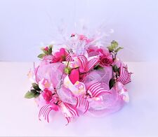 BABY GIRL SHOWER PARTY CENTERPIECE  PINK ROSES SMALL DOOR DECO MESH WREATH NEW