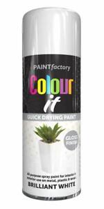 400ml New Brilliant White Gloss Finish Spray Metal Plastic Wood Quick Dry Paint