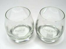 2 GLENMORANGIE Single Malt Scotch Whisky White Satin Etch Rocks Barware Glasses