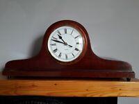 Mahogany colour wooden Napoleon Hat style mantel clock with quartz movement