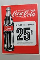 "Foreign Coca Cola Paper Sign Advertising 300 ml 10 oz 25 Cents  24""x18 1/4"""