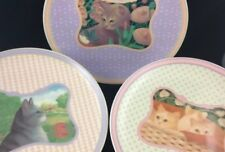 Set of 3 Lynn Hollyn Town & Country Cat Kitten Collector Plates Toscany Japan