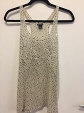 Club Monaco Women's Medium Holiday Tank Top Blouse White Black Sequin 100% Silk