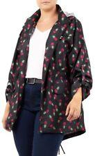 New Ladies Pineapple Print Fishtail Parka Mac Hooded Raincoat Jacket 18-24