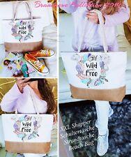 NEU XL Shopper Boho Vintage Federn Schultertasche Strandtasche Tasche Beach Bag