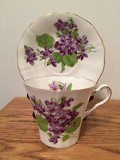 Adderley Tea Cup & Saucer Violets Fine Bone China