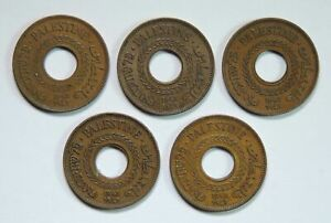 Lot of 5 1942 Palestine 5 Mils World Foreign Coins Collection