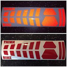 REFLECTIVE red SAFETY strip Motorcycle Helmet Sticker Hi Viz France THINK BIKE
