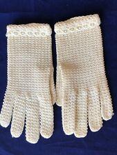 Antique Vintage Crochet Cream Dress Wrist Length Gloves #3 Never Worn