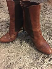 MIU MIU ITALY BROWN LEATHER High CHELSE ANKLE Boots Size vtg 41/ 10