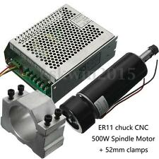 100V DC ER11 CNC 500W Air Cooling Spindle Motor + 52mm Clamps + Speed Governor