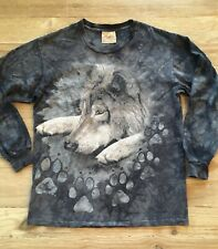 Vintage The Mountain Gray Wolf Long Sleeve Tye Dye T-shirt Men's Medium