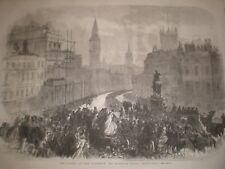 CORTEO FUNEBRE Lord Palmerston passando Charing Cross 1865 stampa ref c