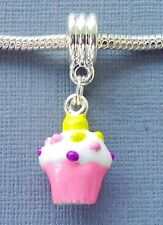 Pendant Pink CUPCAKE Large hole Fit for European Charm Bracelet and Necklace C49