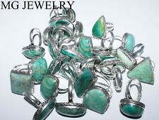 Hot Sale ! 500 Pcs Lot Natural Amazonite Gemstone .925 Silver Plated Rings