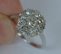 10K White Gold 5.93 Ct Round Cut Women's Cluster Flower Engagement Ring