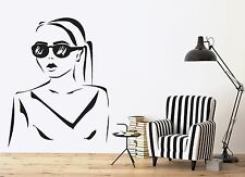 Wall Vinyl Sticker Decal Silhouette Beautiful Girl Hairstyle Sunglasses (n447)