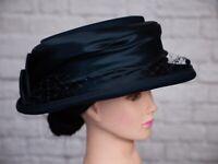 Vintage Blue Hat Genevieve Louis Fashion Line Veil Pleated 1980s Goodwood Navy