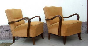 Art Deco Armchairs Pair of Club Cocktail Chairs. 1920s Vintage Antique Halabala.