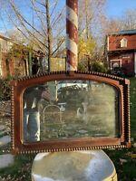 Vtg Antique? 1900-20's Wood Framed Beveled COTTAGE Wash stand Mirror ONLY