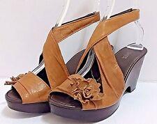 NARA SHOES Brown Leather Sandals Wooden Platform Heels Peep Toe Sling Back Wrap
