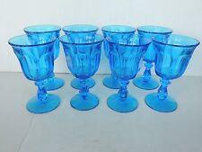 "set 8 Fostoria Virginia Dark Blue glass stems 6 oz 6.5"" tall Exc and clean"