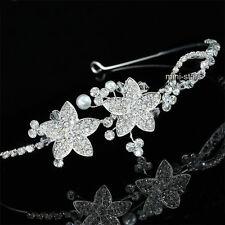 Bridal Wedding Side Headpiece Flower Quality Crystal Faux Pearl Tiara T1672