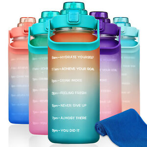 64 oz Motivational Water Bottle with Time Marker Half Gallon Water Bottle