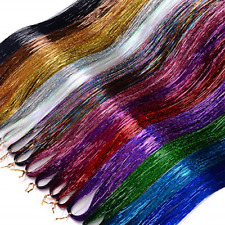 Hair Tinsel Strands Kit 48 Inches 16 Color 9600 Strands Fairy Kit Heat Resistant