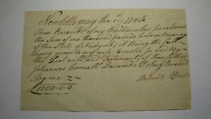 $1,000 1784 Brooklyn New York Colonial Receipt!  Rare Currency Note Bill! Lotts