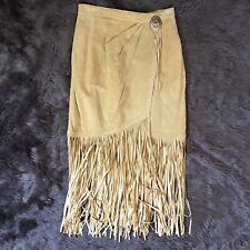 Vintage Leather Fringe Wrap Skirt Lined 6 Small Beige Silver EUC Festival