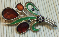 1928 Pin Faceted Acrylic Ruby Colored Stones Green Enamel Goldtone Floral