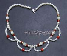 """4-6mm Round White Natural Pearl and 8mm Moonstone & Red Coral 17"""" necklace-n6433"""