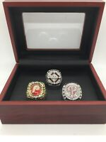 3 Pcs Philadelphia Phillies World Series Championship Ring Set with Wooden Box