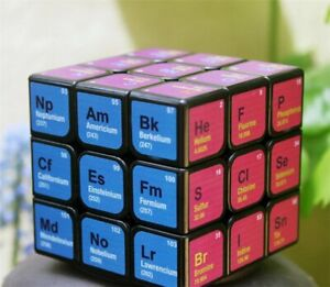 LeFun 3x3x3 speed puzzle magic cube with Chemical Elements Sticker Design