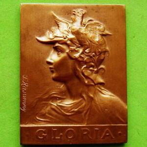 L@@k Art Nouveau Woman Girl Marianne Gloria Award Bronze Plaque Medal by RASUMNY