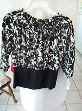 Woman's Black & White Blouse Size 10P from Style & Co.