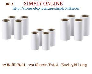 12 Ikea BÄSTIS Lint Dust Animal Pet Hair Remover Roller Refills 720 sheets Total