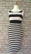 Coast Black Blush/Nude Prena Stripe Shift Dress Ideal for Weddings Races Size 10