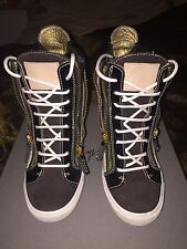 Giuseppe Zanotti Black Metallic Wedge Sneakers Sz 38.5