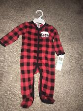 Guess Baby One Piece Outfit Sleeper Red Black Buffalo Checkered Bear Print 6-9m