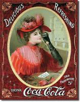 Victorian Red Dress Drink Coca-Cola Coke Vintage Soda Pop Metal Sign