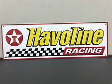 Havoline oil racing garage advertising sign baked