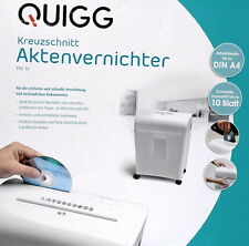 Quigg Aktenvernichter Schredder für Papier & DVD Kreuzschnitt 5x 16 mm Rücklauf