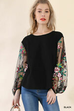 S M L X UMGEE UMGEE  BLACK Tattoo Sleeves Embroidered Top/shirt/Blouse SASSY SKY