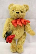 """Teddy Bears Of Witney, Honey Mohair """"Rosenkavalier"""" Bear W/Bow & Flower 12"""" Tall"""