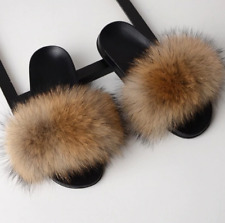 Fur Slippers Women Real Fox Fur Slides Home Furry Flat Sandals Female Cute Fluff