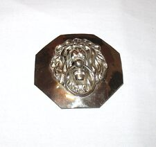 "Vintage Stainless Steel Shiny Lion Head Large 3"" x 3"" Octagon Buckle 1 Piece"