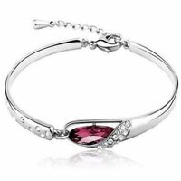 """Red Crystal Silver Bracelet Made with Swarovski Elements 7 """" with Etender"""