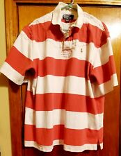 POLO RALPH LAUREN Rugby Shirt VINTAGEStripped Short Sleeve Collared - XLarge